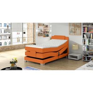JUSTyou Charis Boxspringbett Continentalbett Amerikanisches Bett Doppelbett Ehebett Gästebett Orange 100x200 cm