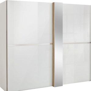 set one by Musterring Schwebetürenschrank »fontana« in Weißglas mit Dekorfront und Spiegel, in 3 Breiten