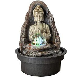 zen Light Buddha Peace Fontaine, Kunstharz, bronze, 15x 15x 21cm