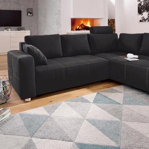 Ecksofa, schwarz, 257cm, Ottomane beidseitig montierbar, FSC-Zertifikat, , , mit Bettfunktion, FSC®-zertifiziert, Places of Style
