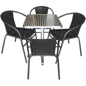 5tlg. Gartengarnitur Balkonmöbel Terrassenmöbel Set Sitzgruppe Polyrattan Stapelstuhl Aluminium Bistrotisch 60x60cm - MULTISTORE 2002