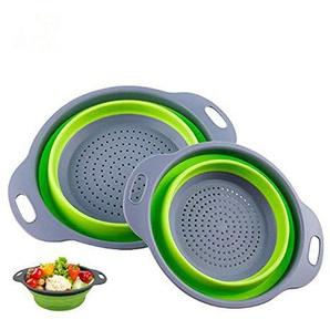 XinLace Drain Basket Colander -2 Pieces Collapsible Siebe, Obst- und Gemüsereinigung Filterkorb, Lebensmittelqualität Sicherheits-Silikon-Faltschüssel-Set Waschkorb mit Griff