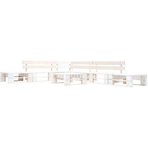 6-tlg. Garten-Paletten-Sofagarnitur Holz Weiß - VIDAXL