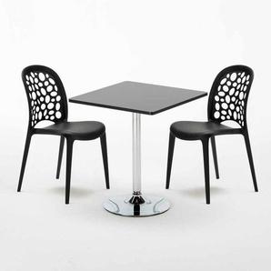 Schwarz Quadratisch Tisch und 2 Stühle Farbiges Polypropylen-Innenmastenset WEDDING MOJITO | Schwarz - AHD AMAZING HOME DESIGN