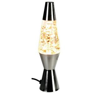 Glitter-Lampe Lavalampe Motion Leuchte - Retro Deko-Lampe im Vintage Design, Höhe 26 cm, Farbe: silber, Glitzer: gold - 57/12967