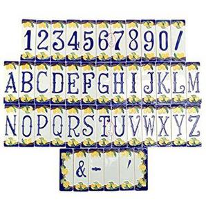 Hausnummern aus Keramik, Keramikfliesen, Motiv: Zitronen  Der Preis bezieht sich auf eine einzelne Fliese, siehe Beispiel unter der Beschreibung. Erhältlich sind: Die Zahlen von 0 bis 9, die Buchstaben von A bis Z, spezielle Buchstaben wie K, X, J, Y, W,
