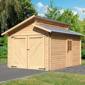 KARIBU Einzel-Garage »Blockbohlen«, BxT: 360x489 cm, Einfahrtshöhe: 193 cm