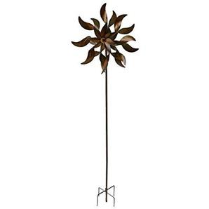 Unbekannt VARILANDO® Deko-Windrad aus Metall in Rost-Optik 178 cm Garten-Stecker Metall-Gartendekoration