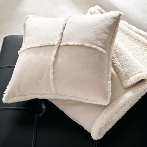 Plaid & Kissen Lammfell-Look, Wende-Plaid Decke 150 x 200 cm, Kissen 45 x 45 cm, maschinenwaschbar, creme, aus Polyester