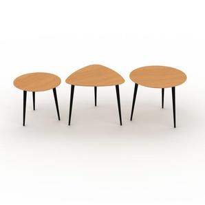 Couchtisch Buche, Holz - Eleganter Sofatisch: Beste Qualität, einzigartiges Design - 50/59/60 x 44/50/50 x 50/61/60 cm, Konfigurator