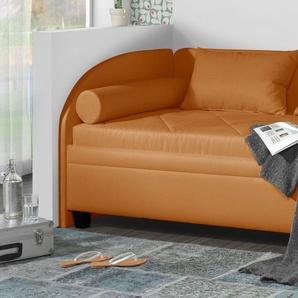 Stauraum-Studioliege mit Seitenlehne 100x200 cm orange - Kamina
