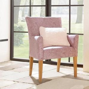 Home affaire Armlehnstuhl »King« bezogen mit Web- oder Strukturstoff, Microfaser oder Kunstleder, rosa, Luxus-Microfaser in Samtoptik
