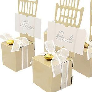 EinsSein 12x Kartonagen Gastgeschenke Hochzeit Tischkartenhalter Stuhl creme mit Namenskärtchen Hochzeitsmandeln Kartonage Geschenkboxen Geschenkbox Taufe Taufmandeln Tischkarten Candybar