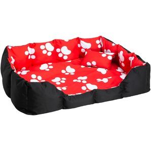 Hundebett mit Decke und Kissen schwarz/rot/weiß