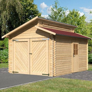 Karibu Set: Einzel-Garage »Blockbohlen«, natur (BxT: 310x430 cm)
