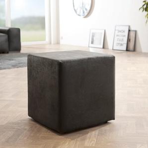Sitzwürfel Dado 45x45 cm Anthrazit Antik Optik Hocker, Sitzhocker / Sitzwürfel