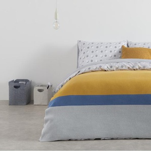 Essentials Colourblock Strickdecke (130 x 170 cm), Grau, Blau und Senfgelb