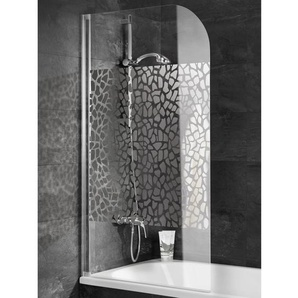 Schulte Badewannenaufsatz 1-teilig 80 cm x 140 cm Echtglas Terrazzo Chrom