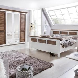 Schlafzimmerset LAGUNA 200x200 cm Farbe  Pinie Massivholz / Teilmassiv Breite Schrank 235 cm, Bett 200x200 cm