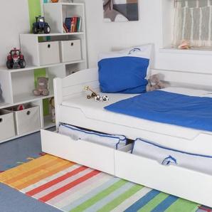 Kinderbett / Jugendbett Easy Premium Line K1/s Voll inkl 2 Schubladen und 2 Abdeckblenden, 90 x 200 cm Buche Vollholz massiv weiß lackiert
