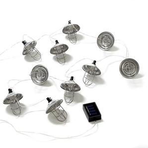 Solarlichterkette Metall, 10 Led, L:225cm, silber
