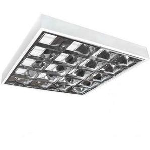 LED Rasterleuchte Empty 4x60cm T8 Anbau Bürolampe Aluraster