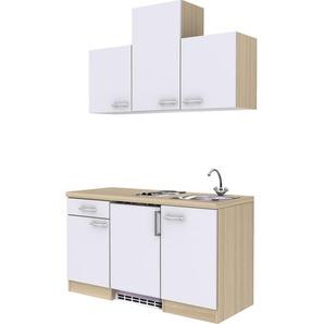 Flex-Well Exclusiv Küchenzeile Abaco 150 cm Perlmutt glänzend-Akazie Nachbildung