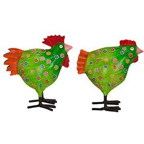 dekorativer Deko-Hahn Deko-Huhn Garten-Deko Metall bemalt Preis für 2 Stück 4 Farben zur Auswahl (grün)