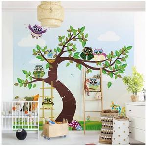 Bilderwelten Kindertapeten - Vliestapeten Fototapete Quadrat »Lustiger Eulenbaum«