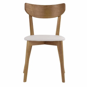 Stuhl Set aus Eiche massiv Weiß Kunstleder (2er Set)