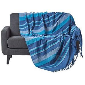 Homescapes waschbare Tagesdecke Sofaüberwurf XXL Überwurfdecke Morocco 255 x 360 cm in Streifen-Design aus 100% reiner Baumwolle in blau