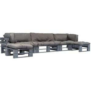 6-tlg. Garten-Lounge-Set Paletten Graue Auflagen Holz - VIDAXL