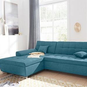 DOMO collection Ecksofa, wahlweise mit Bettfunktion, grün, Luxus-Microfaser