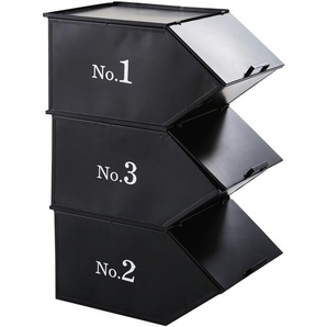 3 Stapelablagen aus schwarzem Metall