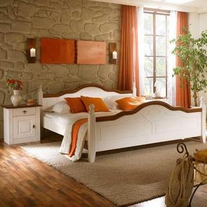 fac929e4a1 Landhausstil-Bett in Weiß-Braun Pinie Massivholz (3-teilig)