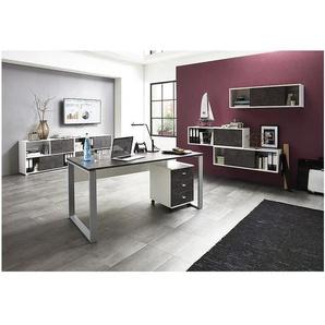 Möbel-Set »Altino« 7-teilig, Schreibtisch mit Bügelfuß weiß, Germania-Werke