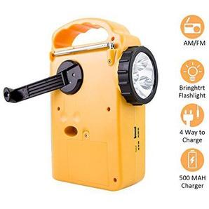 Solarradio mit Handkurbel, autarke Versorgung, AM / FM / WB, Notfall-LED-Taschenlampe, Handy-Ladegerät, Powerbank, tragbar für Wandern / Camping / Outdoor-Aktivitäten