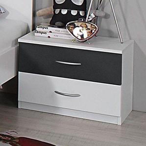 Nachtkommode weiß grau Nachttisch Nachtkonsole Nachtkästchen Nako Abladetisch Kinderzimmer Jugendzimmerkommode Nachtschrank