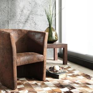 Sessel Goya Braun Lounge Chair gepolstert Antik Optik, Cocktailsessel