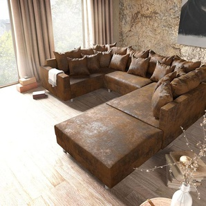 Wohnlandschaft Clovis Braun Antik Optik modular Hocker Armlehne, Design Wohnlandschaften, Couch Loft, Modulsofa, modular