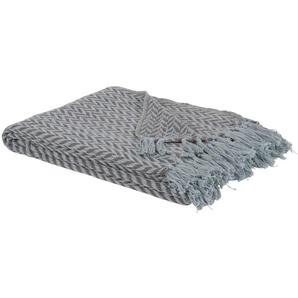 Decke aus gewebtem Baumwoll-Jacquard mit grauem und weißem Fischgrätenmuster 130x160