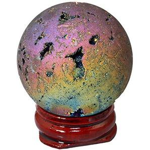 mookaitedecor Kugelkristall Geode-Achat mit Titanium Plattierung Druse Quarz für Familie Dekoration, Schmückung, Geburtstagsgeschenk mit Holzständer