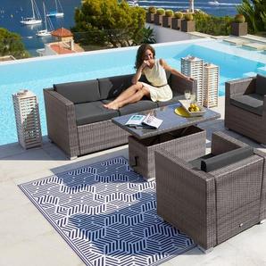 MERXX Loungeset »Bari Deluxe«, 14-tlg., 2 Sessel, 3er-Sofa, Tisch, Polyrattan