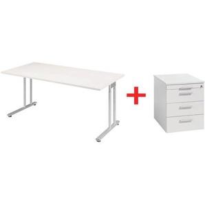 Möbel-Set »Lissabon« 2-teilig, Schreibtisch mit C-Fuß und Rollcontainer schmal grau, Geramöbel