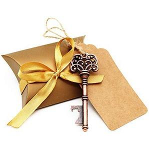 BITEYI Skelett Schlüssel Flaschenöffner Hochzeitsdekoration mit Umbau-Karten und Süßigkeit Kasten für Partys,rustikale Dekoration,30 Stück (Style #2)