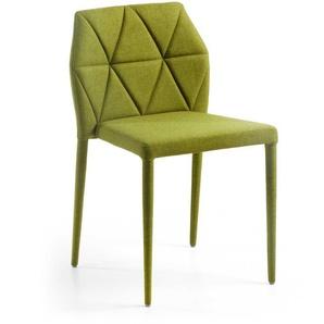 Stuhl Set in Grün Webstoff Stahl (4er Set)