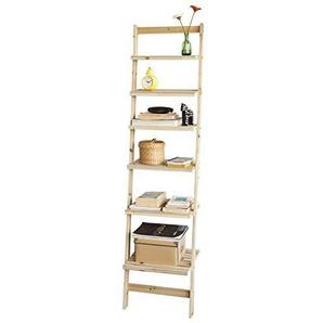 SoBuy® Leiterregal, Badregal, Bücherregal, mit sechs Böden, B41XT30XH165cm, Spießtannenholz, FRG161-N