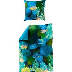 Bierbaum Wendebettwäsche »Pesca«, 135x200 cm, blau
