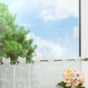 Scheibengardine  von LYSEL® Blätterranke  (Bx H) 220cm * 30cm wollweiß