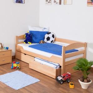 Kinderbett / Jugendbett Easy Premium Line K1/n/s inkl 2 Schubladen und 2 Abdeckblenden, 90 x 200 cm Buche Vollholz massiv Natur